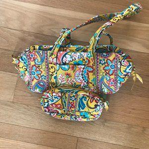 Vera Bradley Mini Duffel Handbag Cosmetic SET